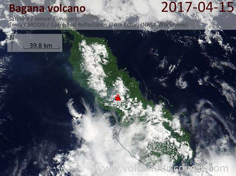 Satellite image of Bagana volcano on 15 Apr 2017