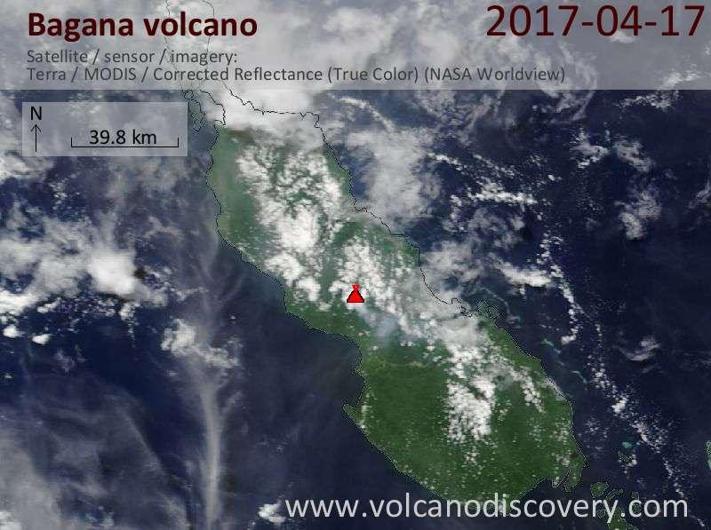 Satellite image of Bagana volcano on 17 Apr 2017