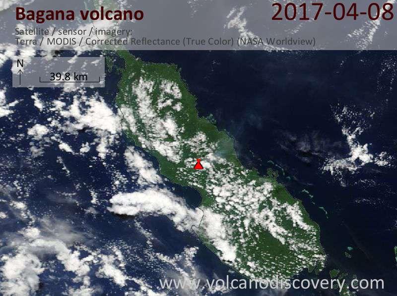 Satellite image of Bagana volcano on  8 Apr 2017