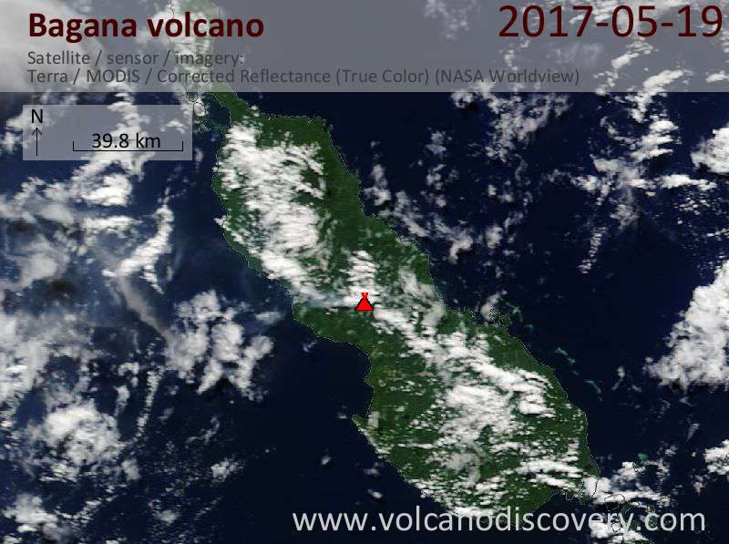 Satellite image of Bagana volcano on 19 May 2017