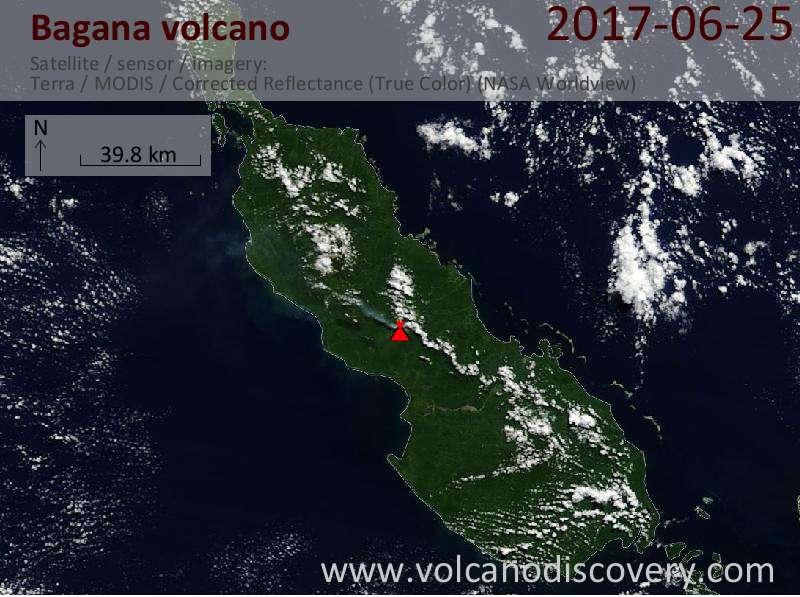 Satellite image of Bagana volcano on 25 Jun 2017