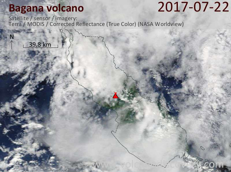 Satellite image of Bagana volcano on 22 Jul 2017