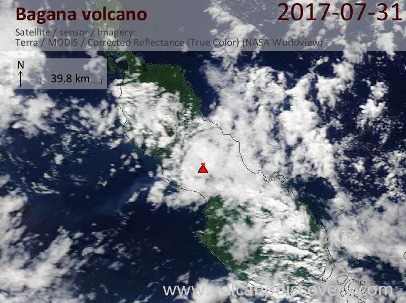 Satellite image of Bagana volcano on 31 Jul 2017