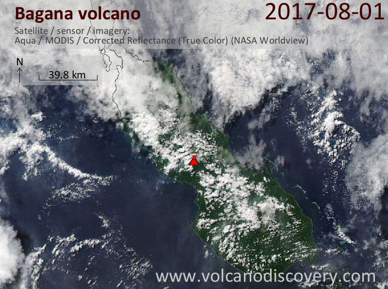 Satellite image of Bagana volcano on  1 Aug 2017