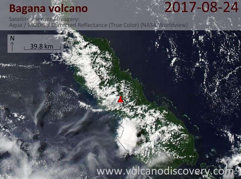 Satellite image of Bagana volcano on 24 Aug 2017