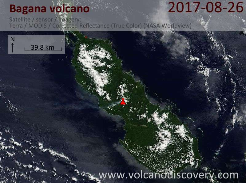 Satellite image of Bagana volcano on 26 Aug 2017