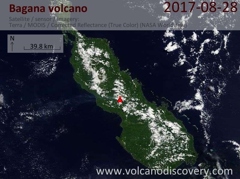 Satellite image of Bagana volcano on 28 Aug 2017