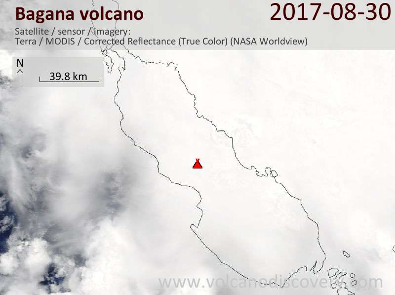 Satellite image of Bagana volcano on 30 Aug 2017