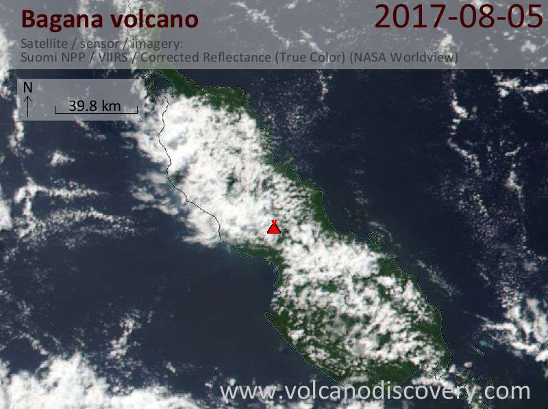 Satellite image of Bagana volcano on  5 Aug 2017