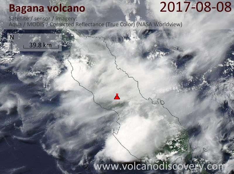 Satellite image of Bagana volcano on  8 Aug 2017