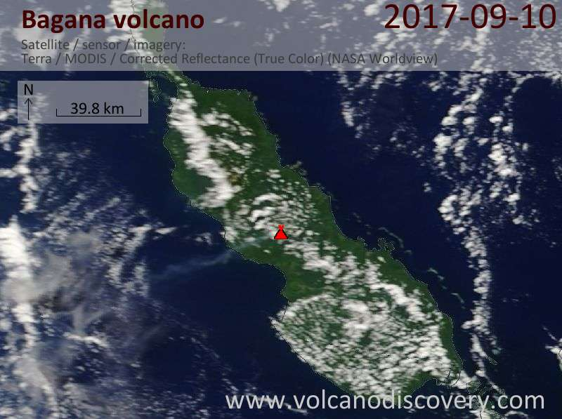 Satellite image of Bagana volcano on 10 Sep 2017