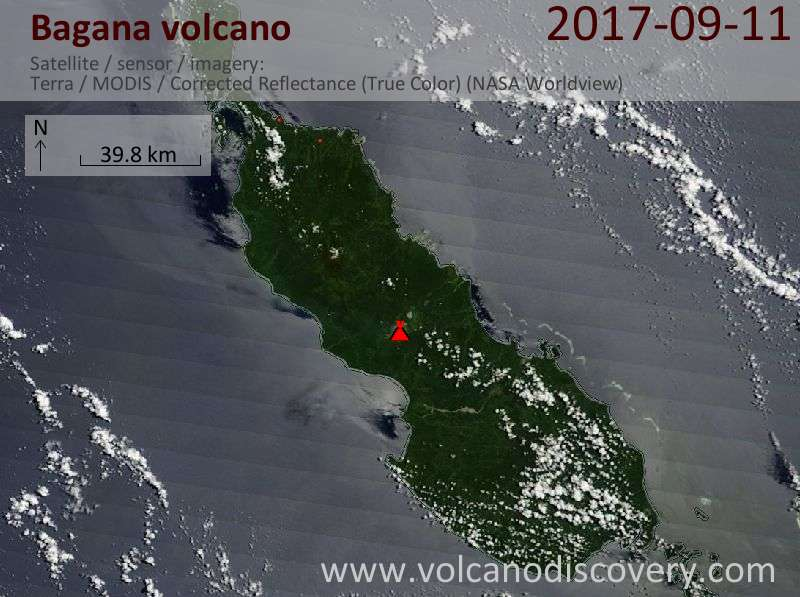 Satellite image of Bagana volcano on 11 Sep 2017