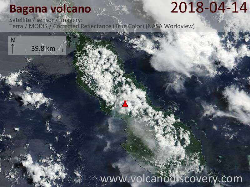 Satellite image of Bagana volcano on 14 Apr 2018