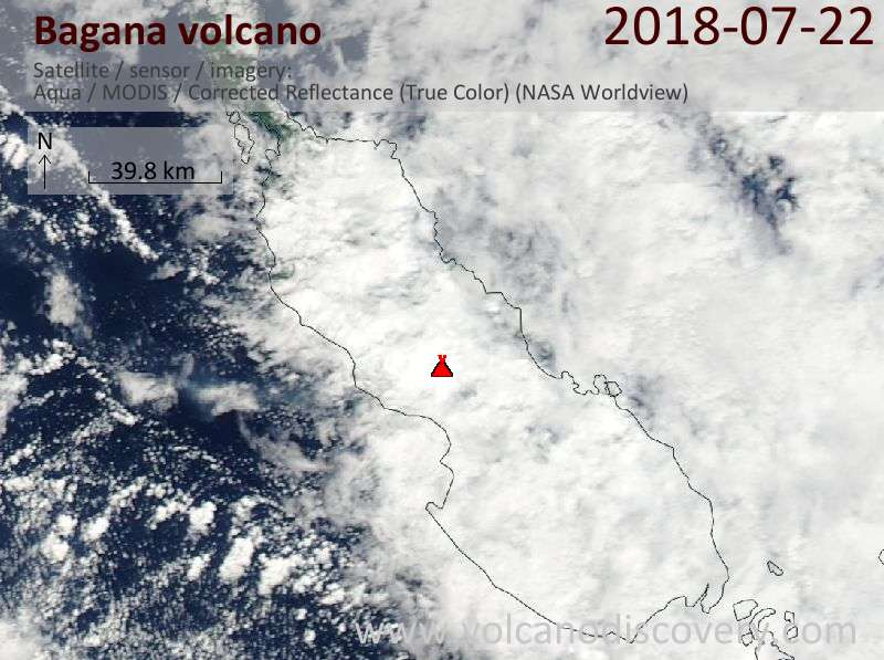 Satellite image of Bagana volcano on 22 Jul 2018