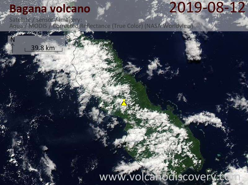 Satellite image of Bagana volcano on 12 Aug 2019