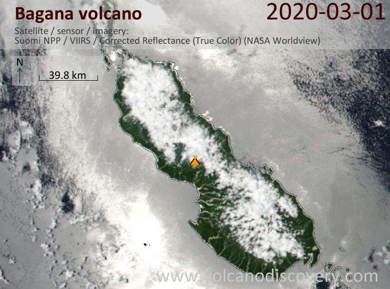 Satellite image of Bagana volcano on  1 Mar 2020