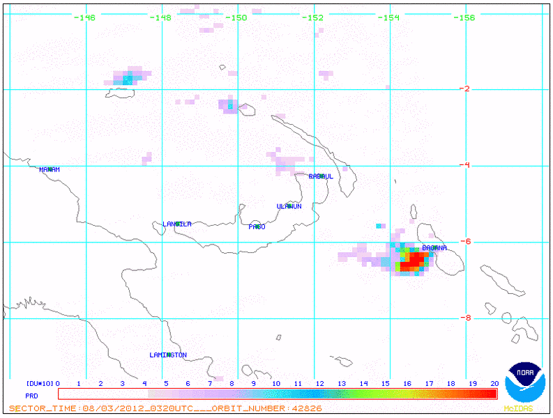 NOAA satellite image from 3 Aug showing SO2 plume from Bagana volcano