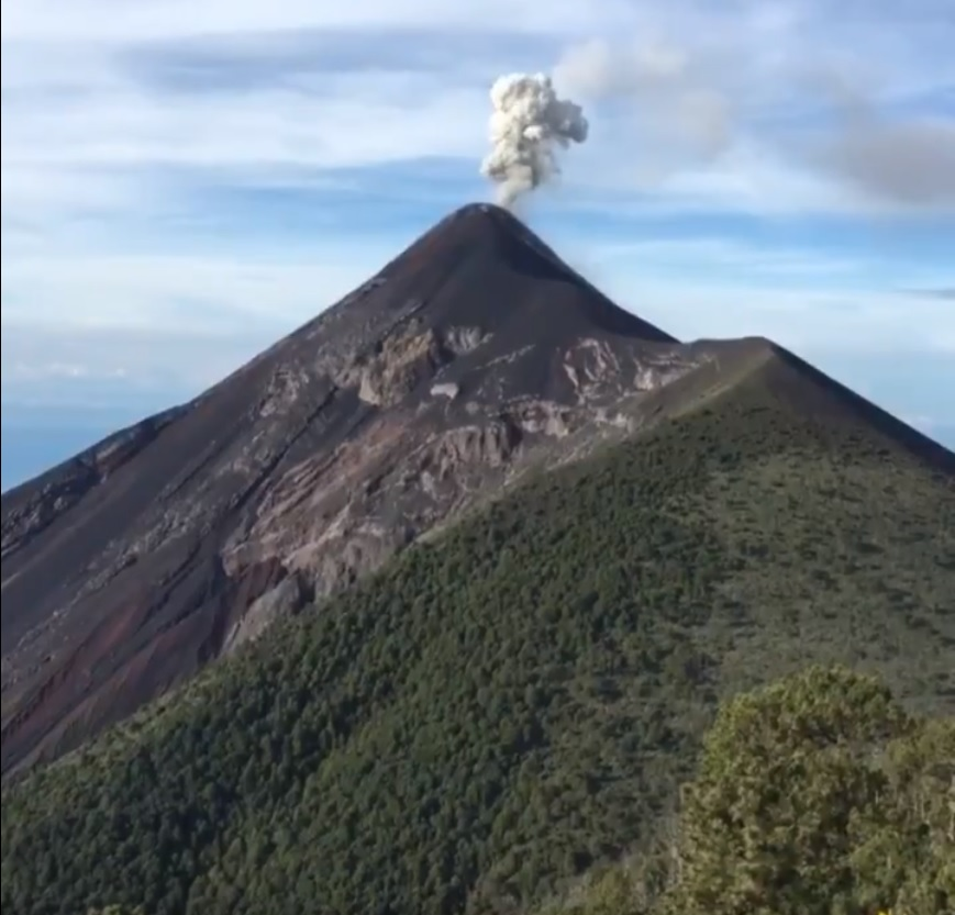 Explosion from Fuego volcano that generated an ash plume yesterday (credit: Carlos Garrido Twitter)