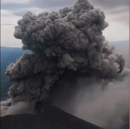 Dense dark ash column from Karymsky volcano on 30 July (image: @madiev451/instagram)