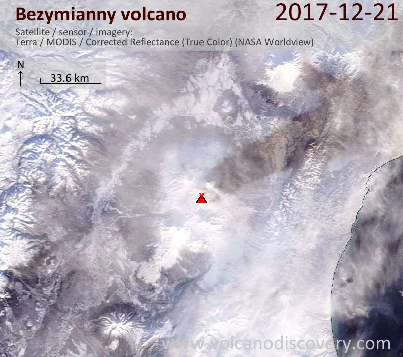 Satellite image of Bezymianny volcano on 21 Dec 2017