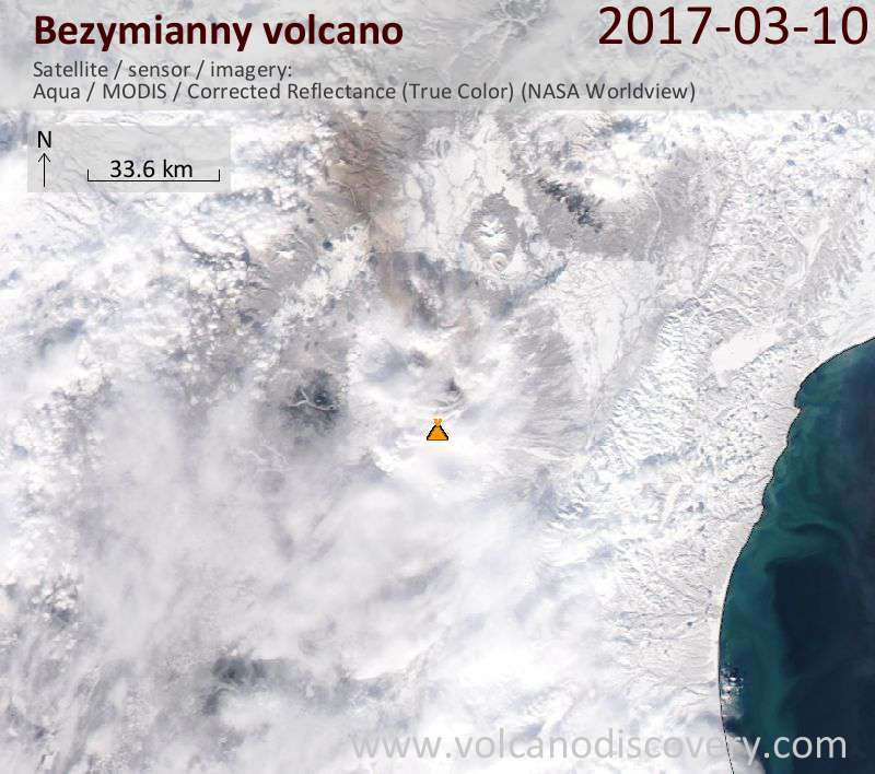 Satellite image of Bezymianny volcano on 10 Mar 2017