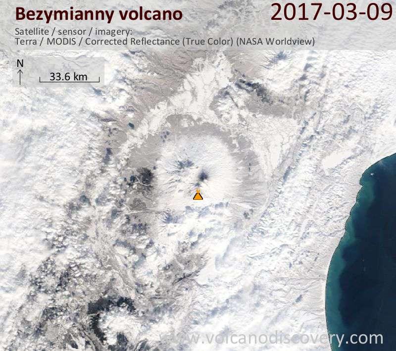Satellite image of Bezymianny volcano on  9 Mar 2017