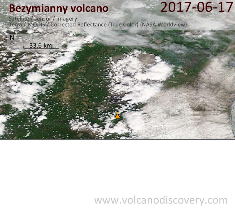 Satellite image of Bezymianny volcano on 17 Jun 2017