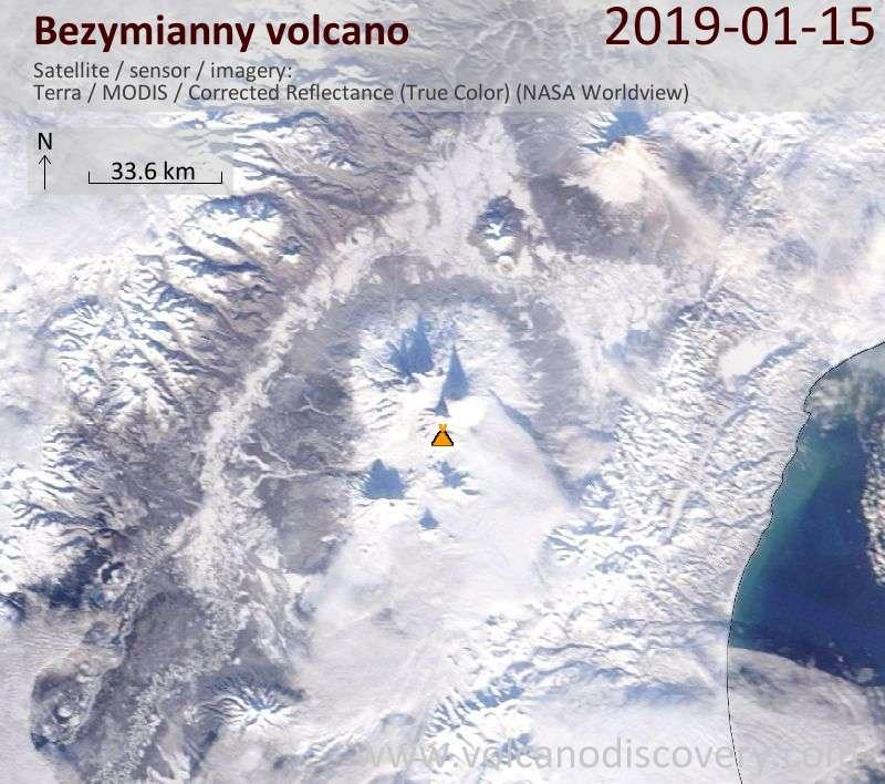 Спутниковое изображение вулкана Bezymianny 15 Jan 2019