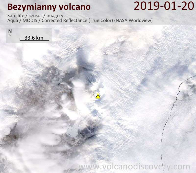 Satellite image of Bezymianny volcano on 20 Jan 2019