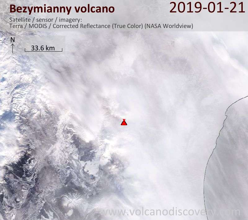 Satellite image of Bezymianny volcano on 21 Jan 2019