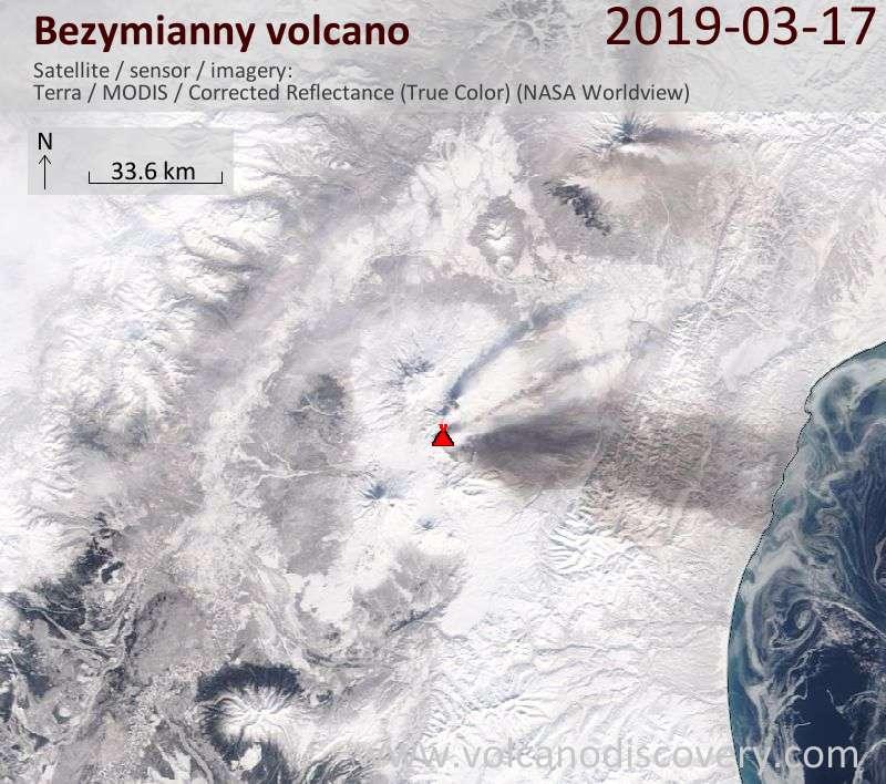 Satellite image of Bezymianny volcano on 17 Mar 2019