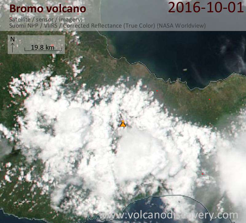 Satellite image of Bromo volcano on  1 Oct 2016