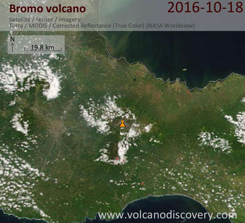 Satellite image of Bromo volcano on 18 Oct 2016