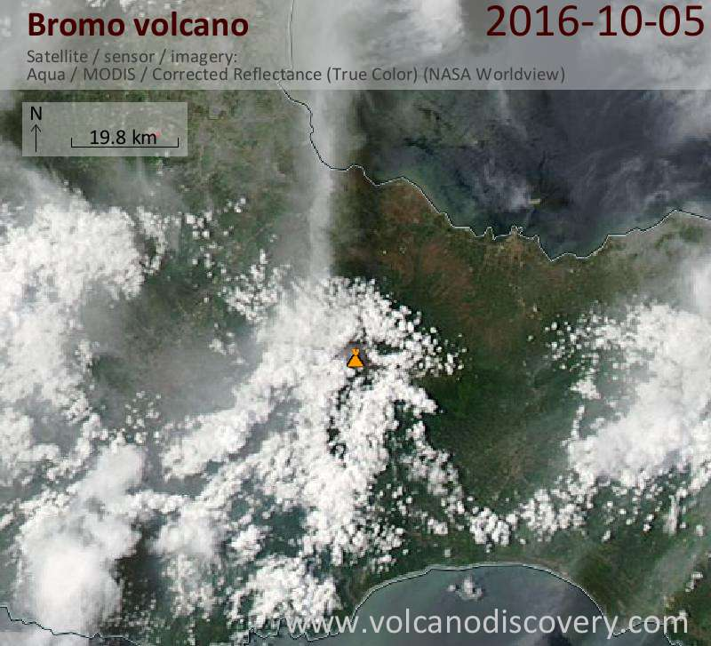 Satellite image of Bromo volcano on  5 Oct 2016