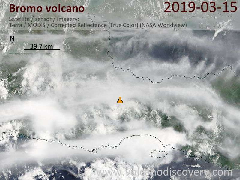 Satellite image of Bromo volcano on 15 Mar 2019