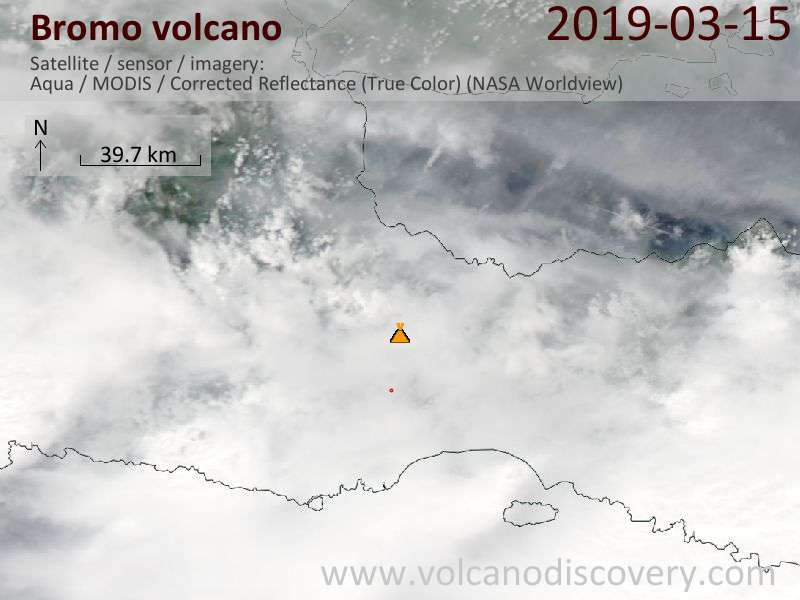 Satellite image of Bromo volcano on 16 Mar 2019