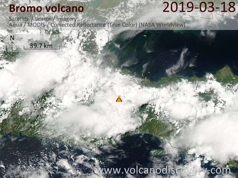 Satellite image of Bromo volcano on 18 Mar 2019