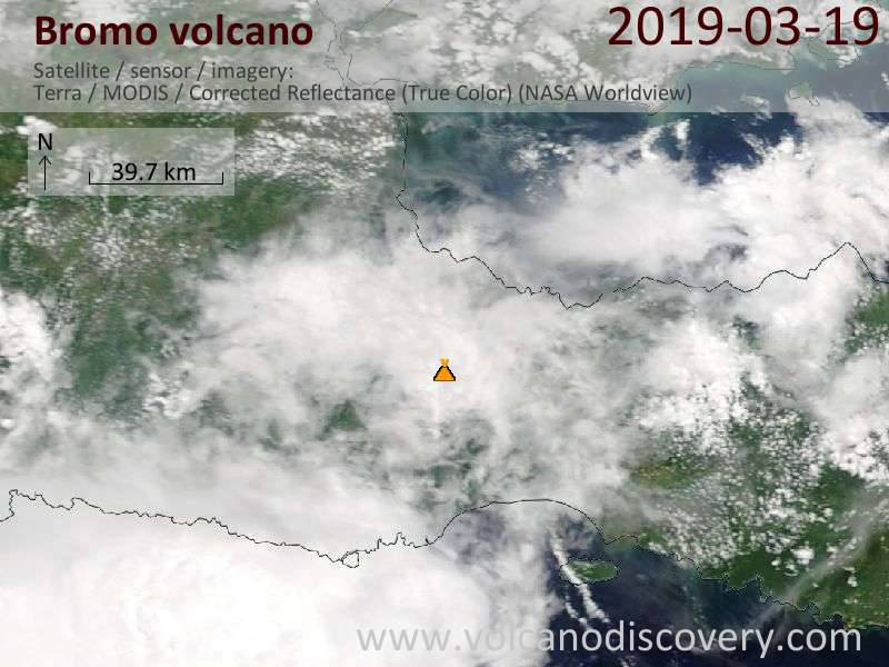 Satellite image of Bromo volcano on 20 Mar 2019