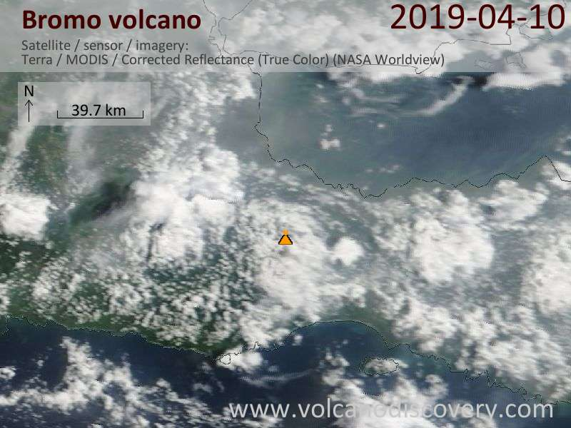 Satellite image of Bromo volcano on 10 Apr 2019