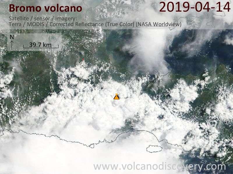 Satellitenbild des Bromo Vulkans am 14 Apr 2019