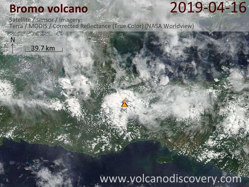 Satellitenbild des Bromo Vulkans am 16 Apr 2019