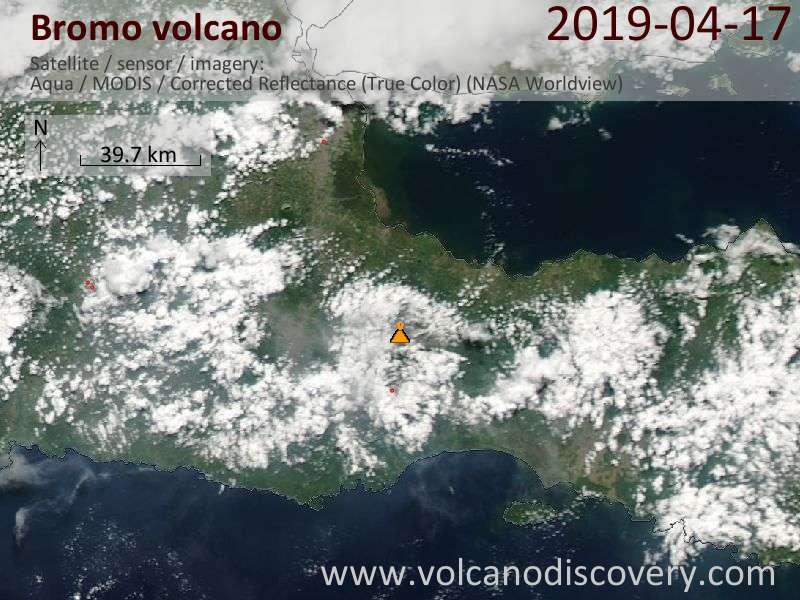 Satellitenbild des Bromo Vulkans am 17 Apr 2019