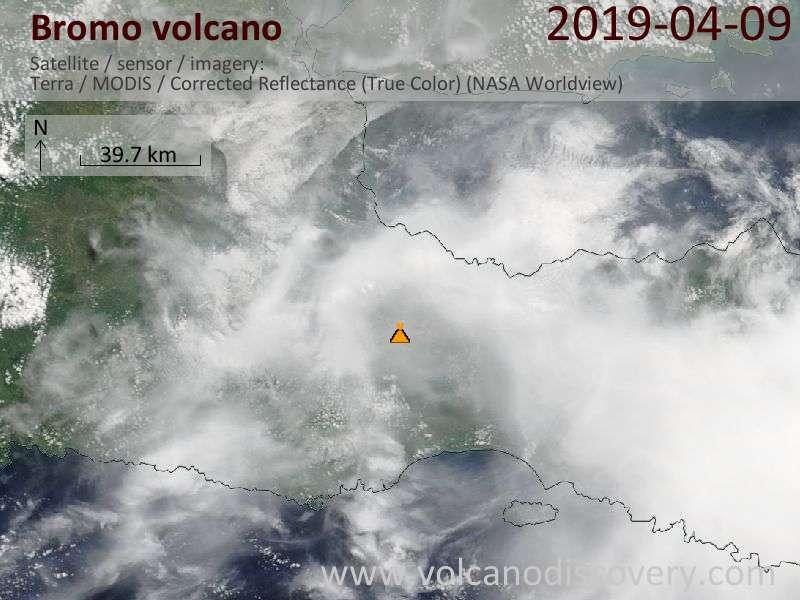 Satellite image of Bromo volcano on  9 Apr 2019