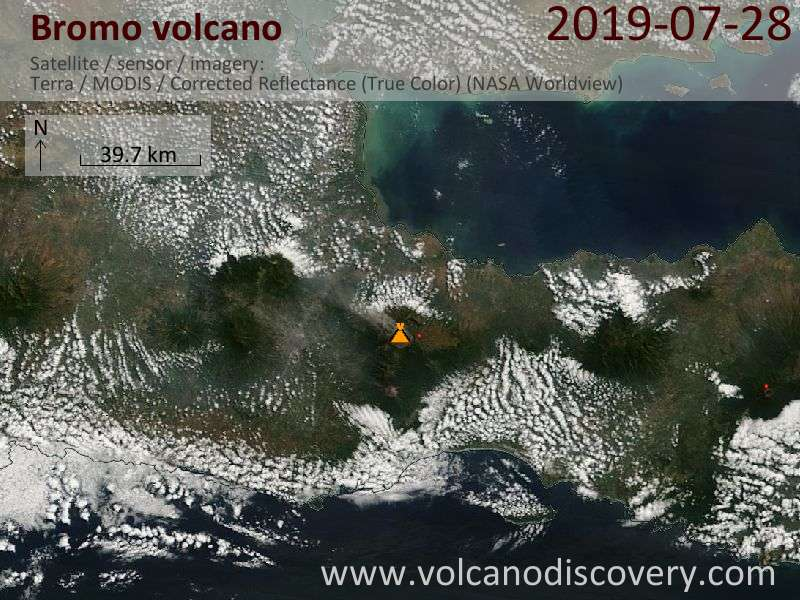 Satellite image of Bromo volcano on 28 Jul 2019