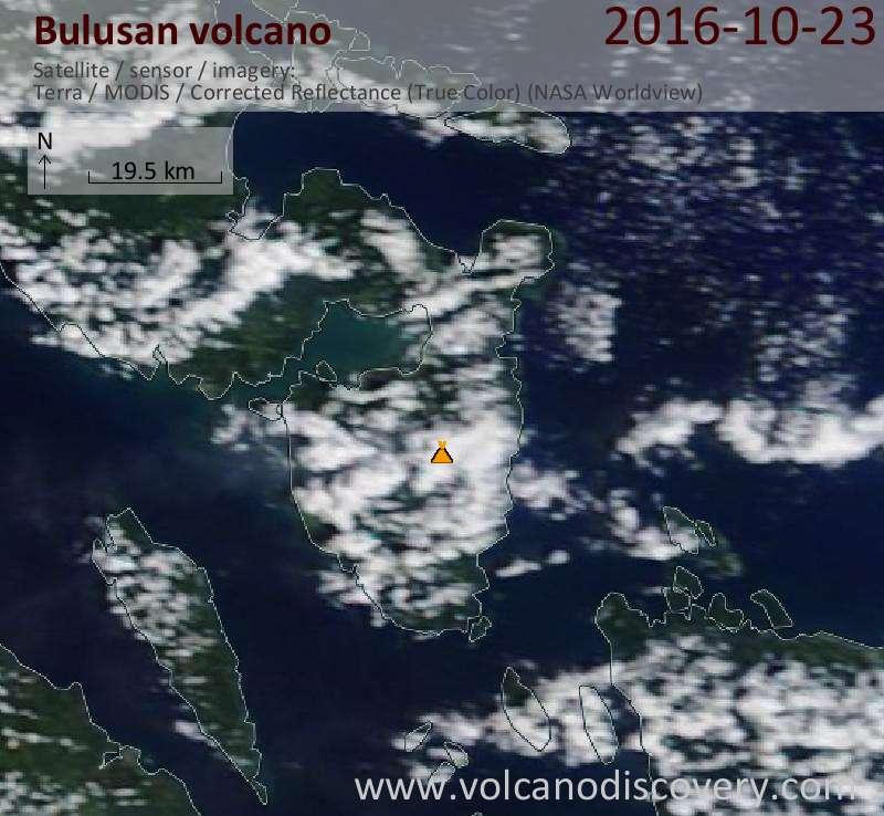 Satellite image of Bulusan volcano on 23 Oct 2016