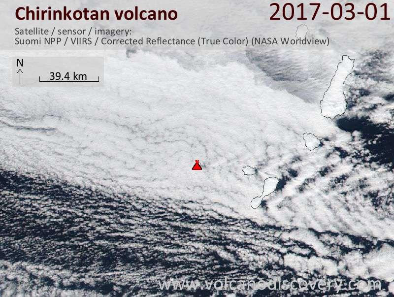Satellite image of Chirinkotan volcano on  1 Mar 2017