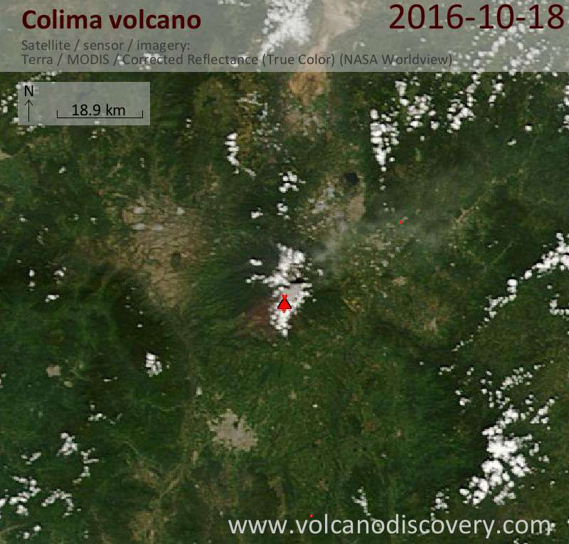 Satellite image of Colima volcano on 19 Oct 2016