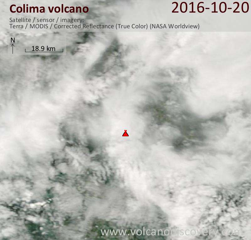 Satellite image of Colima volcano on 20 Oct 2016