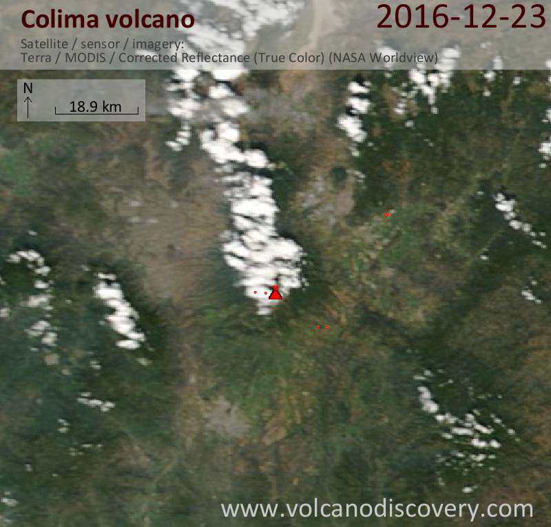 Satellite image of Colima volcano on 23 Dec 2016