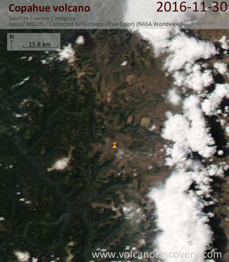 Satellite image of Copahue volcano on  1 Dec 2016